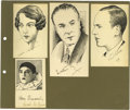 Movie/TV Memorabilia:Autographs and Signed Items, Original Celebrity Sketches Signed By Fred and Adele Astaire andOthers. A selection of four small pen-and-ink sketches of v...