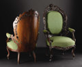 Furniture : American, Two American Rococo Revival Rosewood Parlor Armchairs. Attributedto J. & J.W. Meeks, New York, New York. Mid-Nineteenth C...(Total: 2 )