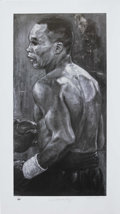 Boxing Collectibles:Autographs, Sugar Ray Leonard Signed Lithograph. One of the more impressive boxing art pieces that we see come through our auctions, th...