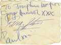 Music Memorabilia:Autographs and Signed Items, Beatles Ticket Stub with Autographs. From a June 22, 1963,performance, with a second piece signed by Paul McCartney,George...