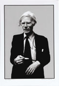 "Movie/TV Memorabilia:Photos, Andy Warhol Limited Edition Photo. A b&w 13"" x 19"" photo of Andy Warhol by Stephen F. Verona, #1 in a limited edition of 20,..."