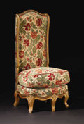 Furniture: French, A Louis XV Style Upholstered Slipper Chair. Unknown maker, France. Nineteenth century. Painted and partially gilt wood. Un...