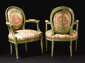 Furniture, A Pair of Provincial Louis XVI Painted Upholstered Armchairs. Unknown maker, French. Eighteenth Century. Painted wood. Unm...