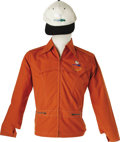 Music Memorabilia:Costumes, Woodstock Jacket with Hat. A burnt-orange cotton-polyester jacket with Woodstock dove logo over the left breast, plus a cap ...