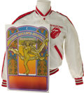 "Music Memorabilia:Costumes, Rolling Stones Tour Jacket with Concert Poster. A white satinjacket with red trim, featuring ""Rolling Stones"" printed on th..."
