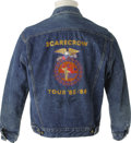 "Music Memorabilia:Costumes, John Cougar Mellencamp Signed Tour Jacket with Bandana. A denim jacket by Guess with a large ""Scarecrow Tour '85-'86"" logo o..."
