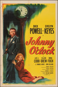 "Movie Posters:Film Noir, Johnny O'Clock (Columbia, R-1956). Folded, Fine/Very Fine. One Sheet (27"" X 41""). Film Noir.. ..."