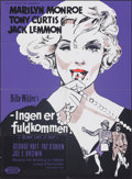 "Movie Posters:Comedy, Some Like It Hot (United Artists, 1959). Folded, Very Fine-. Danish Poster (24"" X 33.5""). Comedy.. ..."