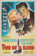 "Movie Posters:Crime, Two of a Kind (Columbia, 1951). Folded, Fine+. One Sheet (27"" X 41""). Crime.. ..."
