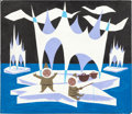 "Animation Art:Concept Art, Mary Blair ""It's a Small World"" Arctic Concept Painting (Walt Disney, 1964/66)...."