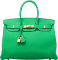 """Luxury Accessories:Bags, Hermès 35cm Bamboo Clemence Leather Birkin Bag with Gold Hardware. R Square, 2014. Condition: 2. 14"""" Width x 10"""" H..."""