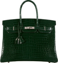 Hermès 35cm Shiny Vert Fonce Porosus Crocodile Birkin Bag with Palladium Hardware J Square, 2006