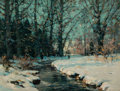 Paintings, John Fabian Carlson (American/Swedish, 1874-1945). The Brook. Oil on canvas. 18 x 24 inches (45.7 x 61.0 cm). Signed low...