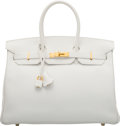 """Luxury Accessories:Bags, Hermès 35cm White Swift Leather Birkin Bag with Gold Hardware. L Square, 2008. Condition: 2. 14"""" Width x 10"""" Heigh..."""