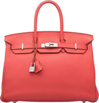 "Hermès 35cm Rose Jaipur Togo Leather Birkin Bag with Palladium Hardware R Square, 2014 Condition: 2 14"" Widt..."