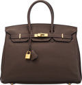 """Luxury Accessories:Bags, Hermès 35cm Chocolate Clemence Leather Birkin Bag with Gold Hardware. N Square, 2010. Condition: 4. 14"""" Width x 10..."""
