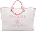 """Luxury Accessories:Bags, Chanel Light Pink Woven Straw Large Deauville Tote Bag. Condition: 2. 15"""" Width x 11"""" Height x 7"""" Depth. ..."""