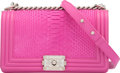"""Luxury Accessories:Bags, Chanel Matte Pink Python Medium Boy Bag with Silver Hardware. Condition: 2. 10"""" Width x 6"""" Height x 3.5"""" Depth. ..."""