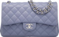 """Luxury Accessories:Bags, Chanel Periwinkle Quilted Lambskin Leather Jumbo Double Flap Bag with Silver Hardware. Condition: 2. 12"""" Width x 8"""" He..."""