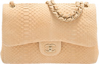 "Chanel Matte Beige Python Jumbo Double Flap Bag with Gold Hardware Condition: 2 12"" Width x 8"" Height x 3""..."
