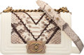 """Luxury Accessories:Bags, Chanel Python & Cream Lambskin Leather Small Boy Bag with Aged Gold Hardware. Condition: 3. 8"""" Width x 5"""" Height x 3"""" ..."""