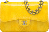 "Chanel Shiny Yellow Python Jumbo Double Flap Bag with Gunmetal Hardware Condition: 2 12"" Width x 8"" Height x 4..."