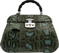 """Luxury Accessories:Bags, Gucci Green & Blue Python Lady Lock Top Handle Bag. Condition: 2. 14"""" Width x 11"""" Height x 6"""" Depth. ..."""