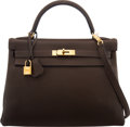 """Luxury Accessories:Bags, Hermès 32cm Cafe Clemence Leather Retourne Kelly Bag with Gold Hardware. R Square, 2014. Condition: 2. 12.5"""" Width..."""