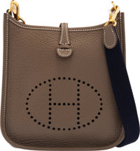 """Hermès Etoupe Clemence Leather Evelyne TPM Bag with Gold Hardware C, 2018 Condition: 1 6.5"""" Width x 7.5""""..."""