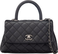 Chanel Black Lizard & Caviar Leather Mini Coco Flap Bag with Ruthenium Hardware Condition: 1 9.5""