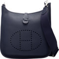 """Luxury Accessories:Bags, Hermès Blue Indigo Clemence Leather Evelyne III PM Bag with Palladium Hardware. A, 2017. Condition: 1. 11"""" Width x..."""