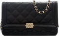 """Luxury Accessories:Accessories, Chanel Black Quilted Patent Leather Boy Wallet on Chain with Gold Hardware. Condition: 1. 7.5"""" Width x 5"""" Height x 1"""" ..."""