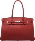 Luxury Accessories:Bags, Hermès Custom Long Handle 45cm Rouge H Buffalo Leather Shoulder Birkin Bag with Palladium Hardware. D Square, 20...