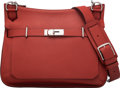 Luxury Accessories:Bags, Hermès 34cm Rouge Venetian Clemence Leather Jypsiere Bag with Palladium Hardware. M Square, 2009. Condition: 1. 13...