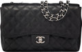 Luxury Accessories:Bags, Chanel Black Quilted Caviar Leather Jumbo Flap Bag...