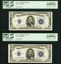 Fr. 1654 $5 1934D Wide II Silver Certificates. Two Examples. PCGS Very Choice New 64PPQ