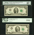 Small Size:Federal Reserve Notes, Fr. 1935-A* $2 1976 Federal Reserve Star Note. PMG Superb Gem Unc 67 EPQ;. Fr. 1935-K* $2 1976 Federal Reserve Star Note. ... (Total: 2 notes)