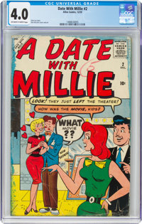 A Date With Millie #2 (Atlas, 1959) CGC VG 4.0 Off-white to white pages