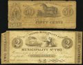 Obsoletes By State:Louisiana, New Orleans, LA- Municipality No. Two 50¢; $2/2 Piastres Dec. 1, 1839 Very Good-Fine.. ... (Total: 2 notes)