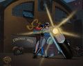 "Animation Art:Production Cel, Batman: The Animated Series ""Batgirl Returns"" Batgirl and Catwoman Production Cel and Master Background (Warner Brothe..."