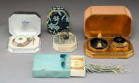 Four French Glass and Enamel Toilette Items in Original Boxes, circa 1925-1927 Marks: COTY FRANCE and <