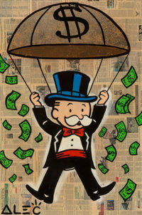 Alec Monopoly (b. 1986) Mr. Monopoly, early 21st century Acrylic, spray paint, gold leaf, and collag