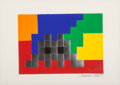 Prints & Multiples, Invader (b. 1969). Home Lego (Silver), 2010. Embossed screenprint in colors on paper. 11-3/4 x 16-1/2 inches (29.8 x 41....