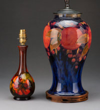 Two British Pottery Vases with Later Lamp Conversion Attributed to William Moorcroft, circa 1930 Marks to one: