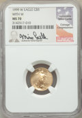 1999-W $5 Tenth-Ounce Gold Eagle, Unfinished Proof Dies, Mike Castle Signature, MS70 NGC. NGC Census: (390). PCGS Popula...