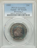 Early Quarters, 1805 25C B-3, R.1 -- Tooled -- PCGS Genuine. XF Details....