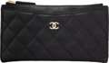 "Luxury Accessories:Accessories, Chanel Black Caviar Leather Quilted Classic Zip Pouch . Condition: 3. 7"" Width x 4"" Height x 0.25"" Depth. ..."