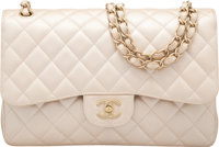 """Chanel Metallic Pearl Caviar Leather Double Flap Bag with Brushed Gold Hardware Condition: 2 12"""""""
