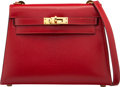 Luxury Accessories:Bags, Hermès Vintage 20cm Rouge Vif Calf Box Leather Mini Selli...