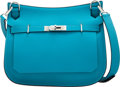 """Luxury Accessories:Bags, Hermès 28cm Turquoise Swift Leather Jypsiere Bag with Palladium Hardware. R Square, 2014. Condition: 2. 11"""" Width ..."""